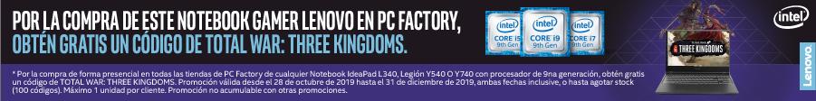 por la compra de este Notebook Gamer Lenovo, ontén un código de total war: three kingdoms