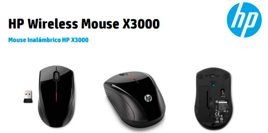 HP Mouse Wireless X3000 Negro   PC Factory