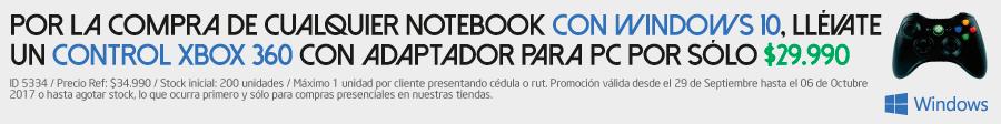 por la compra de cualquier notebook con windows 10, llévate un control xbox 360 con adaptador para pc por solo 29.990
