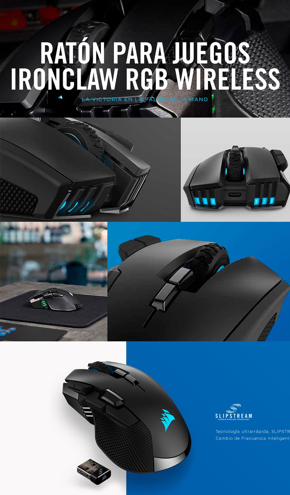 Mouse Gamer Corsair Ironclaw RGB Wireless, Slipstream Wireless Technology, 18000DPI, 10 Botones